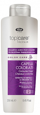 Стабилизатор цвета – «Top Care Repair Color Care After Color Acid Shampoo» Lisap Milano, 250 мл