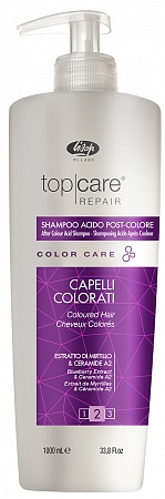 Стабилизатор цвета – «Top Care Repair Color Care After Color Acid Shampoo»  Lisap Milano, 1000 мл